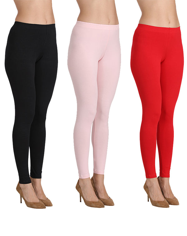 Ankle Length Leggings Combo of 3(Red, Pink, Black)
