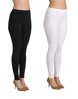 Ankle Length Leggings Combo of 2(White , Black)