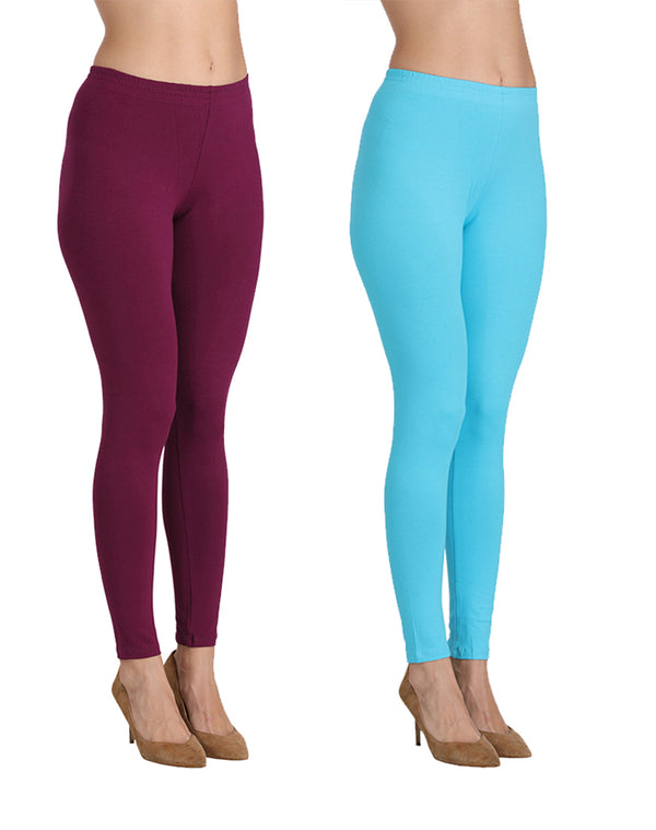 Ankle Length Leggings Combo of 2(Wine & Ocean Blue)