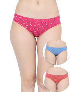 Low Rise Printed Cotton Bikini Panties - Set of 3