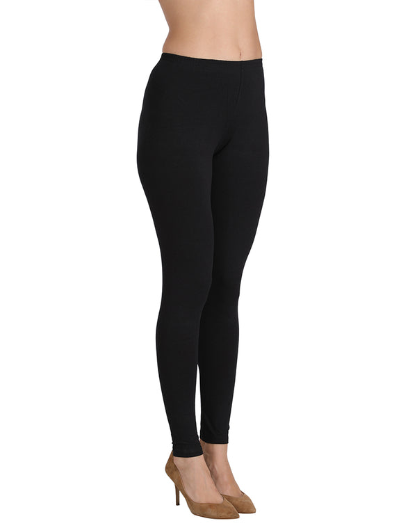 Mid rise ankle length leggings Black