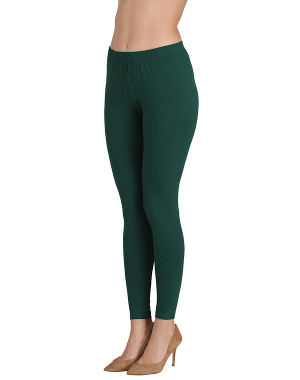 Ankle Length Leggings Combo of 2(Bottle Green, Coffee)