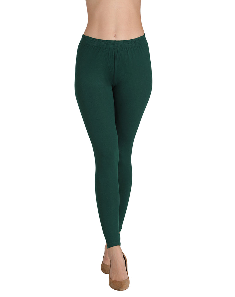 Mid Rise Leggings ankle length Bottle green