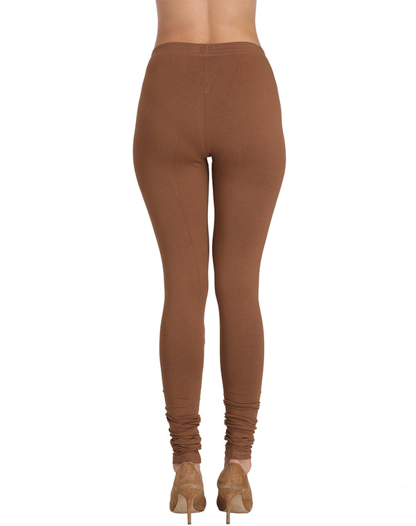 Stretchable premium quality Churidar Leggings-Cadbury Chocholate