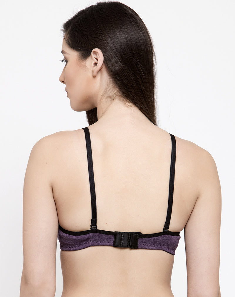 Full Support Soft Fabric Padded Bra- Wine