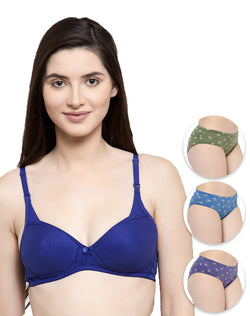 Solid color padded bra with printed panty set of 3