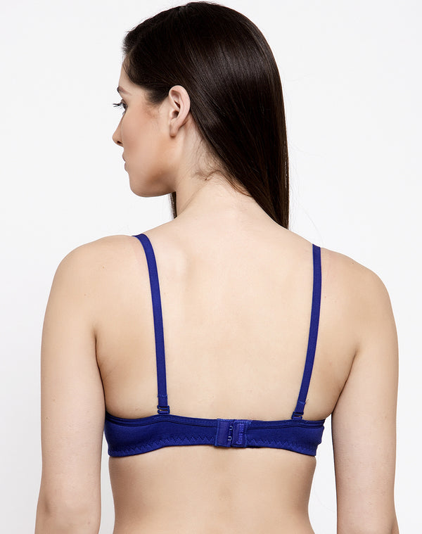 SOFT PADDED WIRE FREE SEAMLESS T-SHIRT BRA-ROYAL BLUE