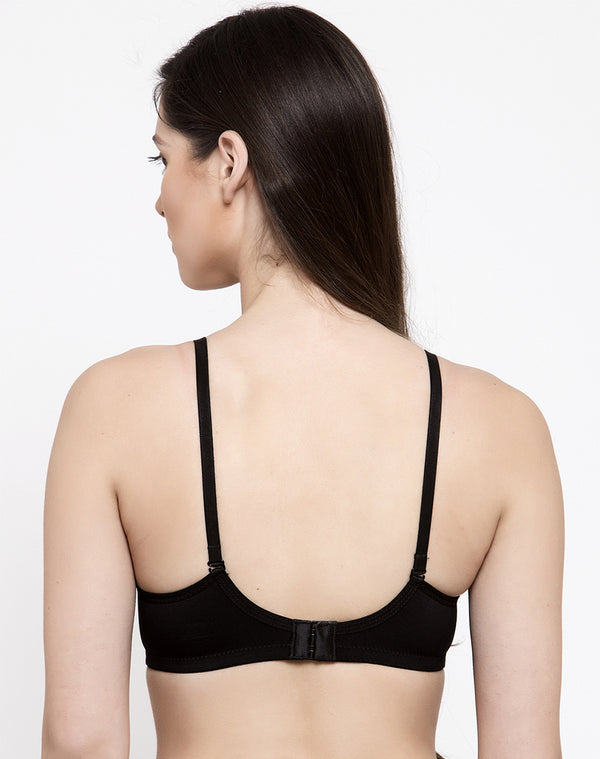 SOFT PADDED WIRE FREE SEAMLESS T-SHIRT BRA-BLACK