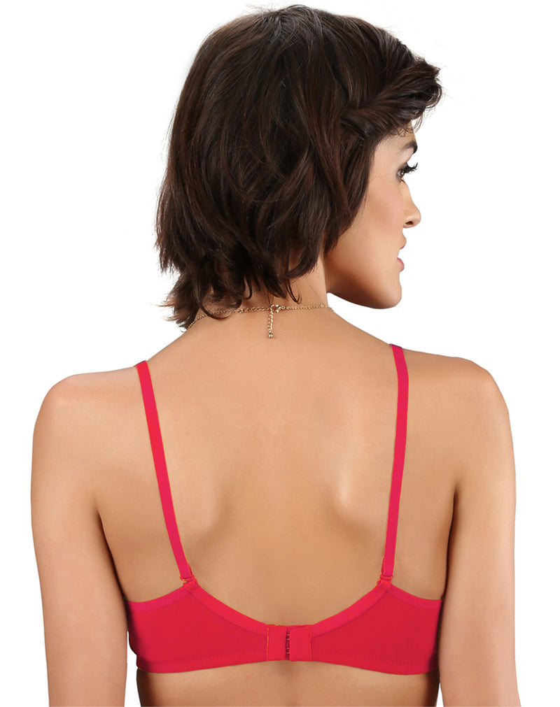 Light Padded Wire free Seamless T-shirt bra-Coral