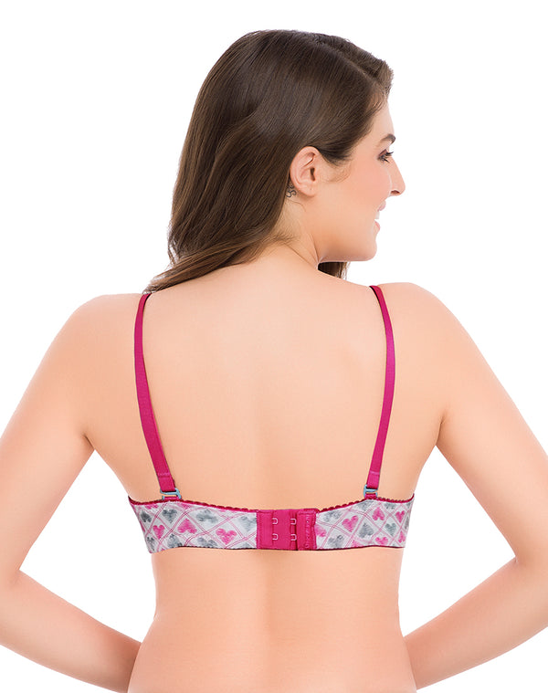 HEARTS PRINT PADDED T SHIRT BRA- HOT-PINK