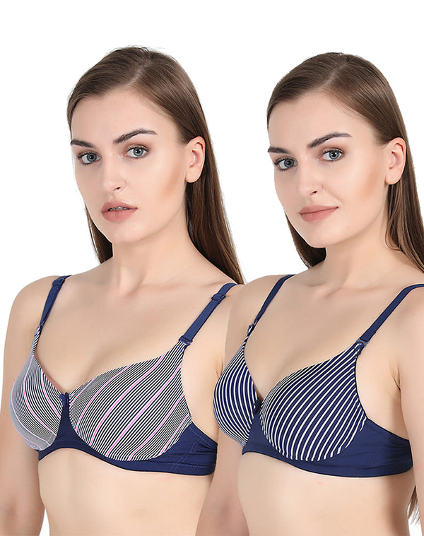 GROVERSONS PARIS BEAUTY FULL COVERAGE PRINTED PADDED BRA - PACK OF 2