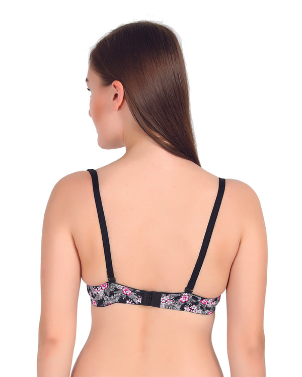 Floral Printed Lightly Padded Non Wired Seamless T Shirt Bra-Grey