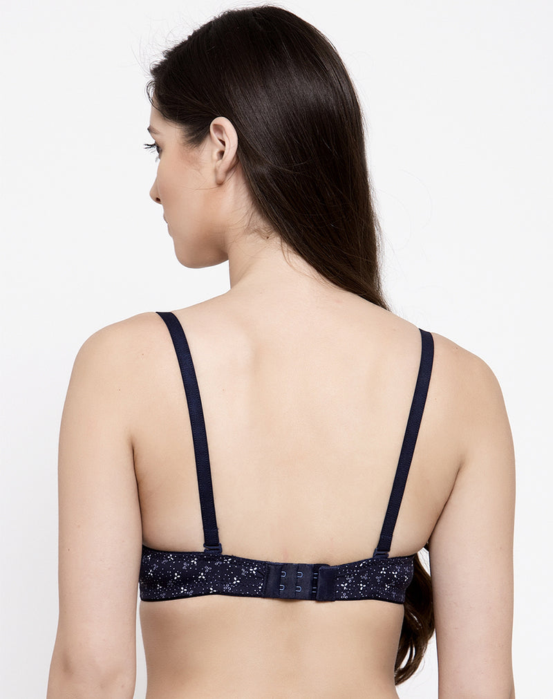 Comfortable Non Wired Soft Padded T-Shirt Bra - Navy Blue