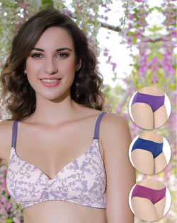 LIGHT PADDED WIRE FREE T SHIRT BRA WITH SOLID LIGHT COLORED PANTIES SET