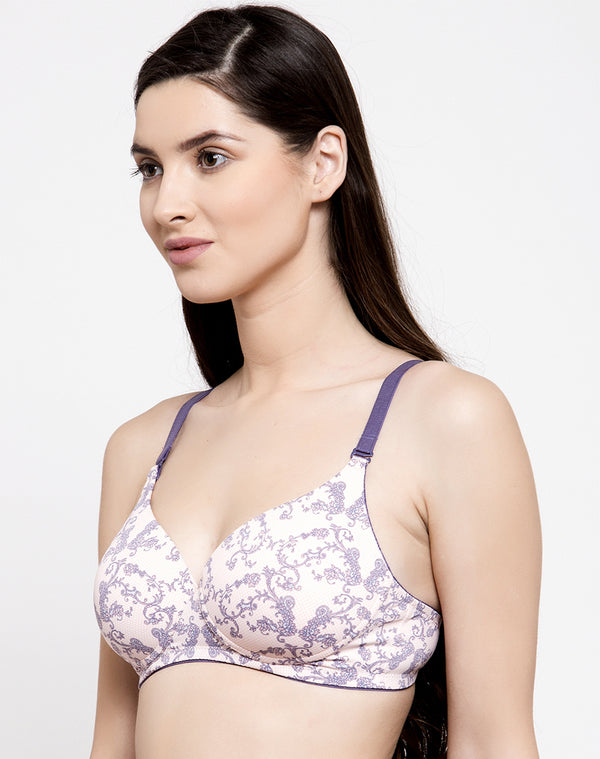 Non Wired Padded T-Shirt Bra in Abstract Floral Print