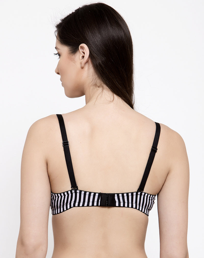 Black Stripe Lightly Padded Non Wired T-shirt Bra- Black