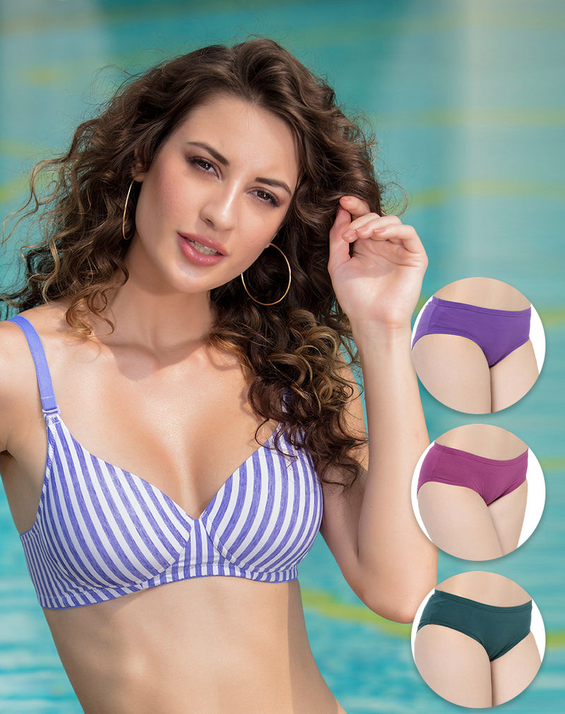 LIGHT PADDED WIRE FREE T SHIRT BRA WITH SOLID COLORED PANTIES SET