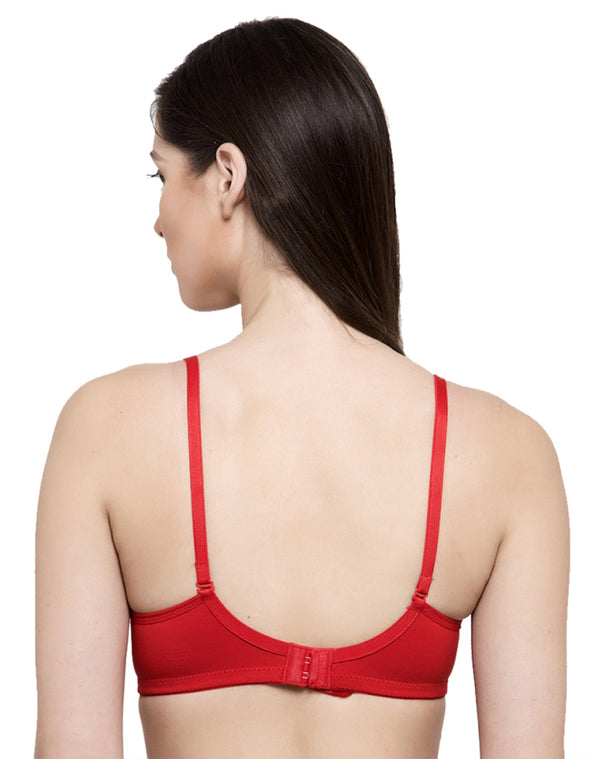 Soft Padded Wire free Seamless T-shirt Bra-Red