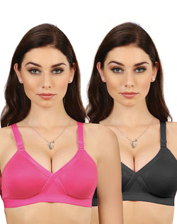 Groversons Paris Beauty Plus Size Bra- Pack of 2 (Carolina)