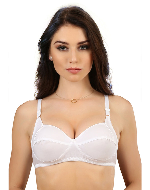 Chic Full Coverage Supper Support Bra- White