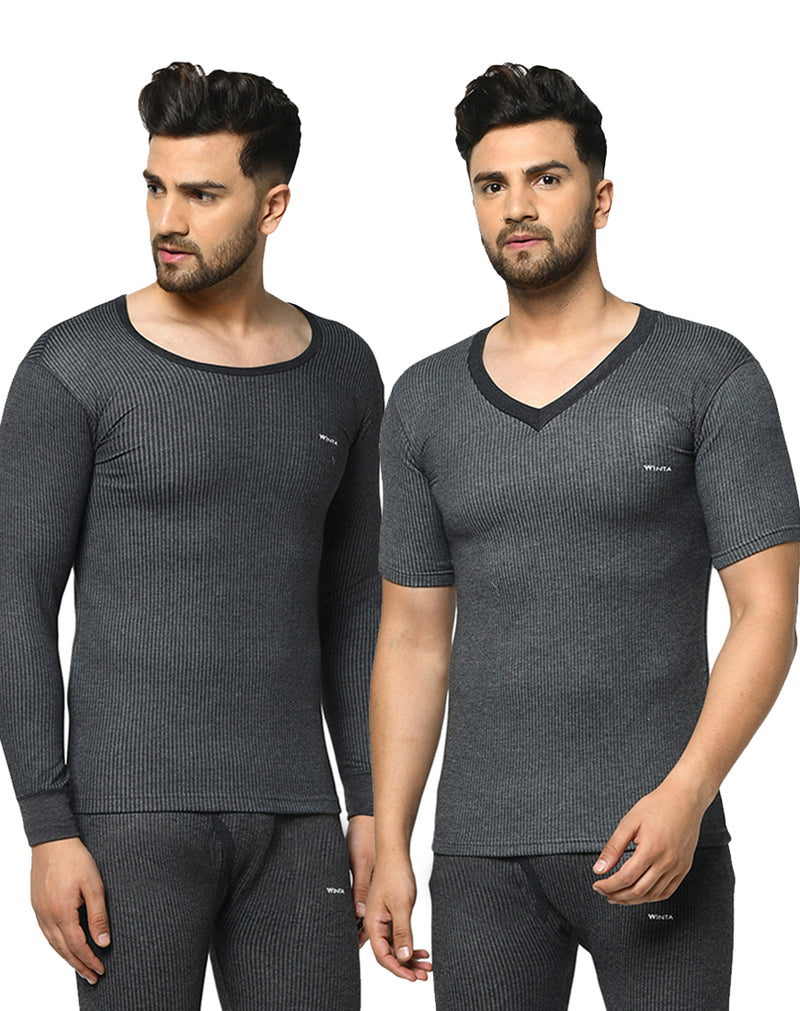 WINTA MEN'S ROUND NECK FULL SLEEVE & V-NECK HALF SLEEVE THERMAL TOP - PACK OF 2
