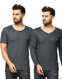WINTA MEN'S ROUND & V-NECK CHARCOAL THERMAL TOP - PACK OF 2