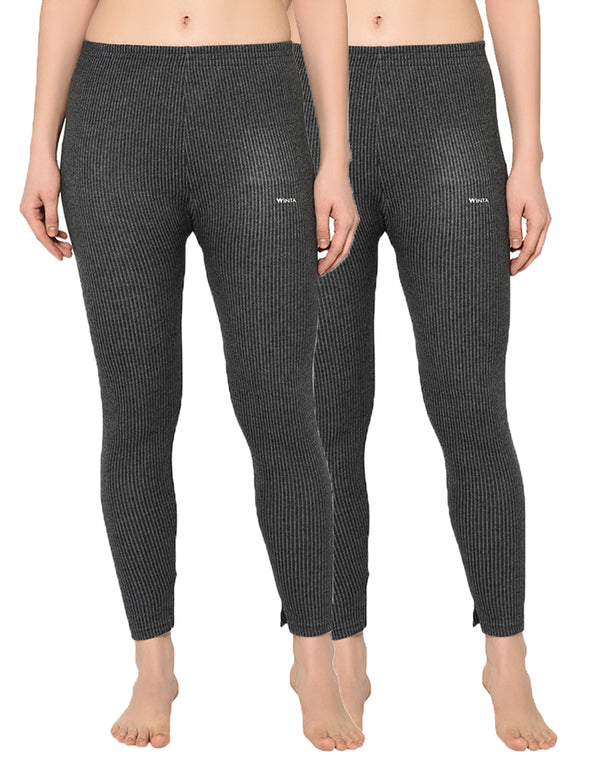WINTA WOMEN GRAY FULL LENGTH THERMAL PANT - PACK OF 2