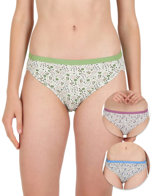 Cotton Rich Floral Hipster Panties - Pack of 3