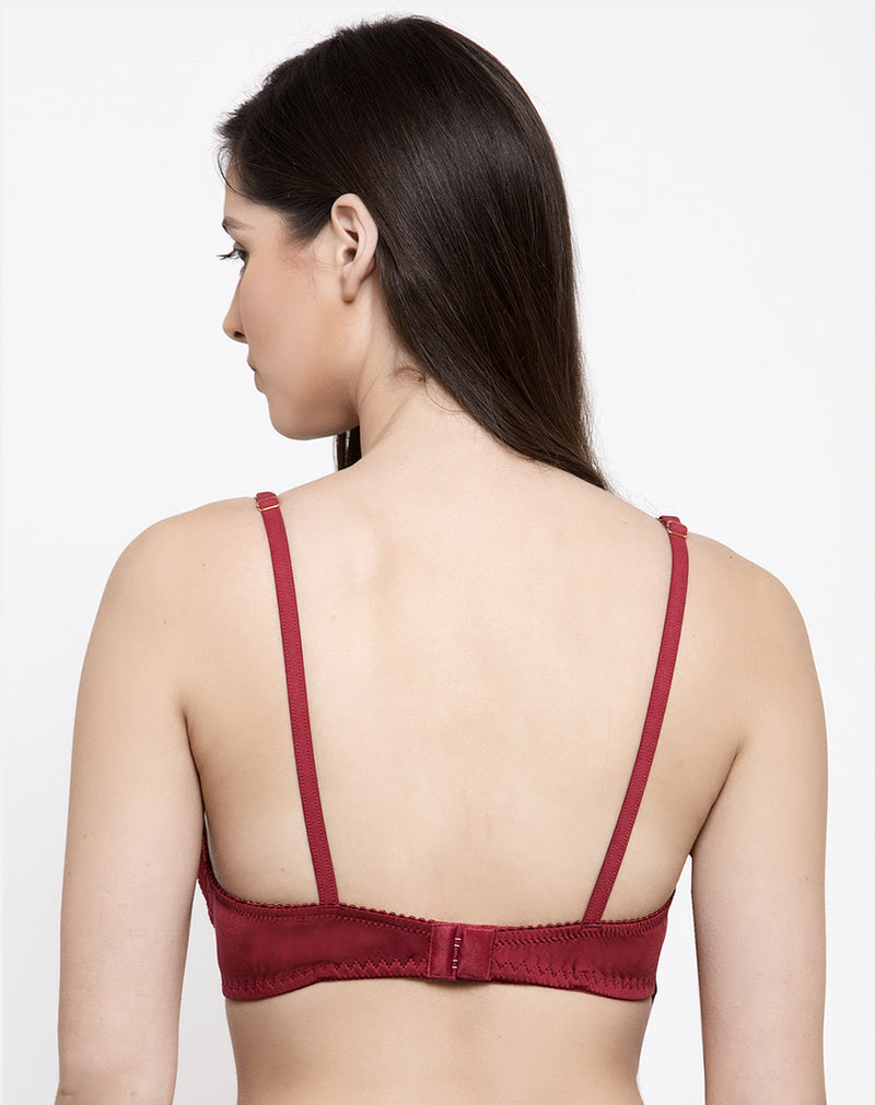 Non Wired Padded Lace Bra-Maroon