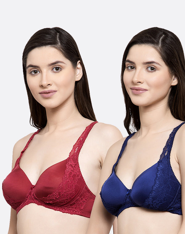 CRAFTED WITH LACE NON WIRED PADDED BRA - PACK OF 2