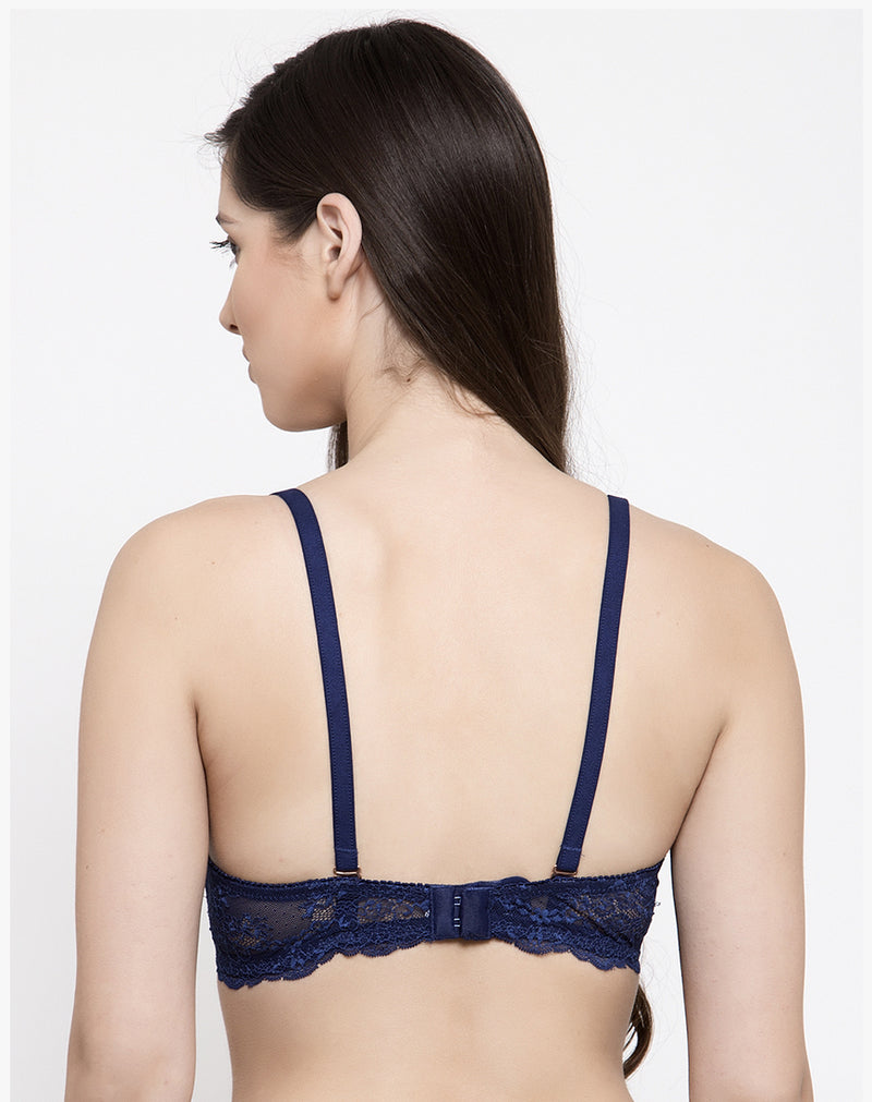 Vintage Lace Padded Non Wired Bra-Navy Blue