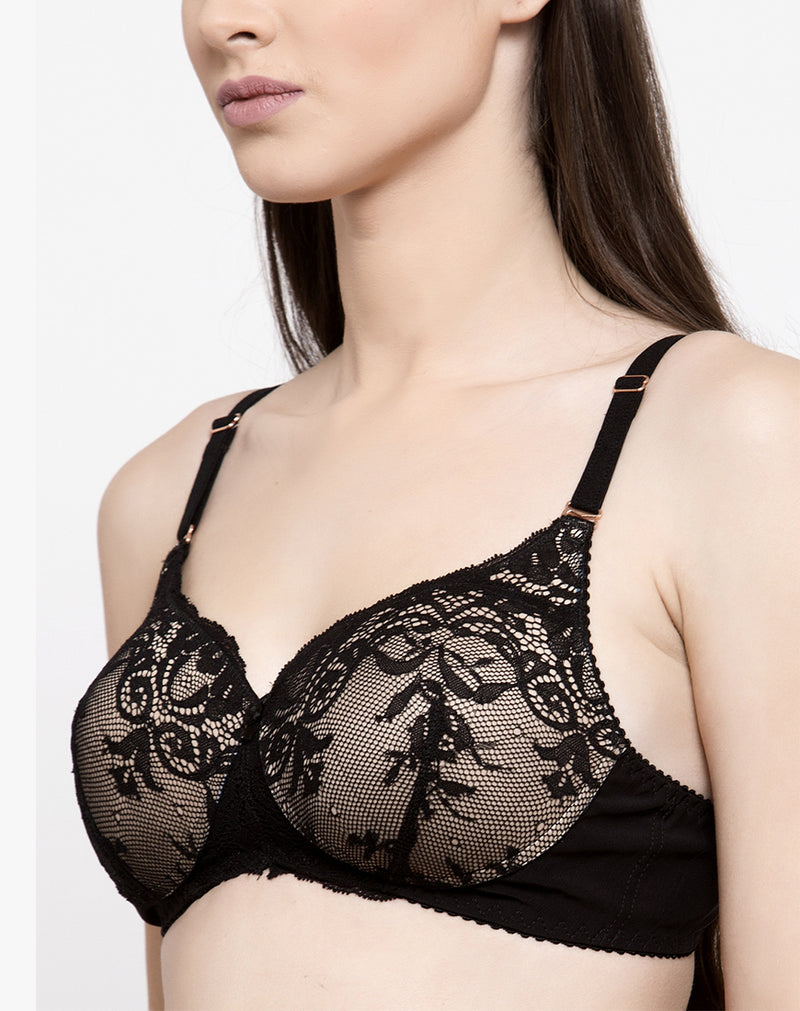 Lace Embellished Non Wired Padded Bra- Black Nude