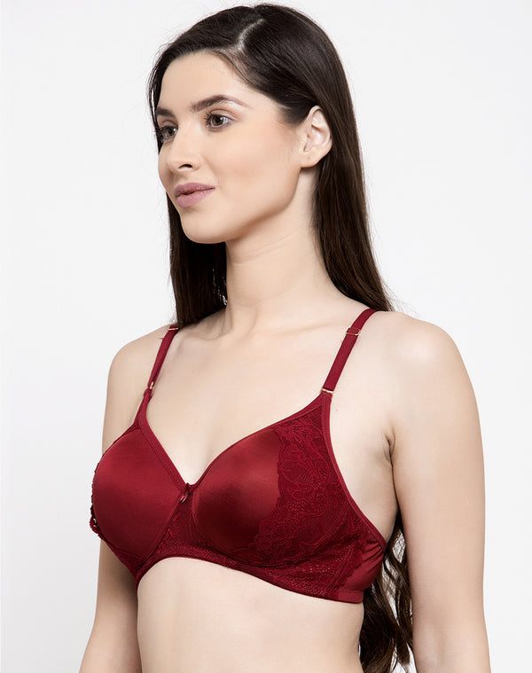 Crafted with Lace Non Wired Padded Bra - Maroon