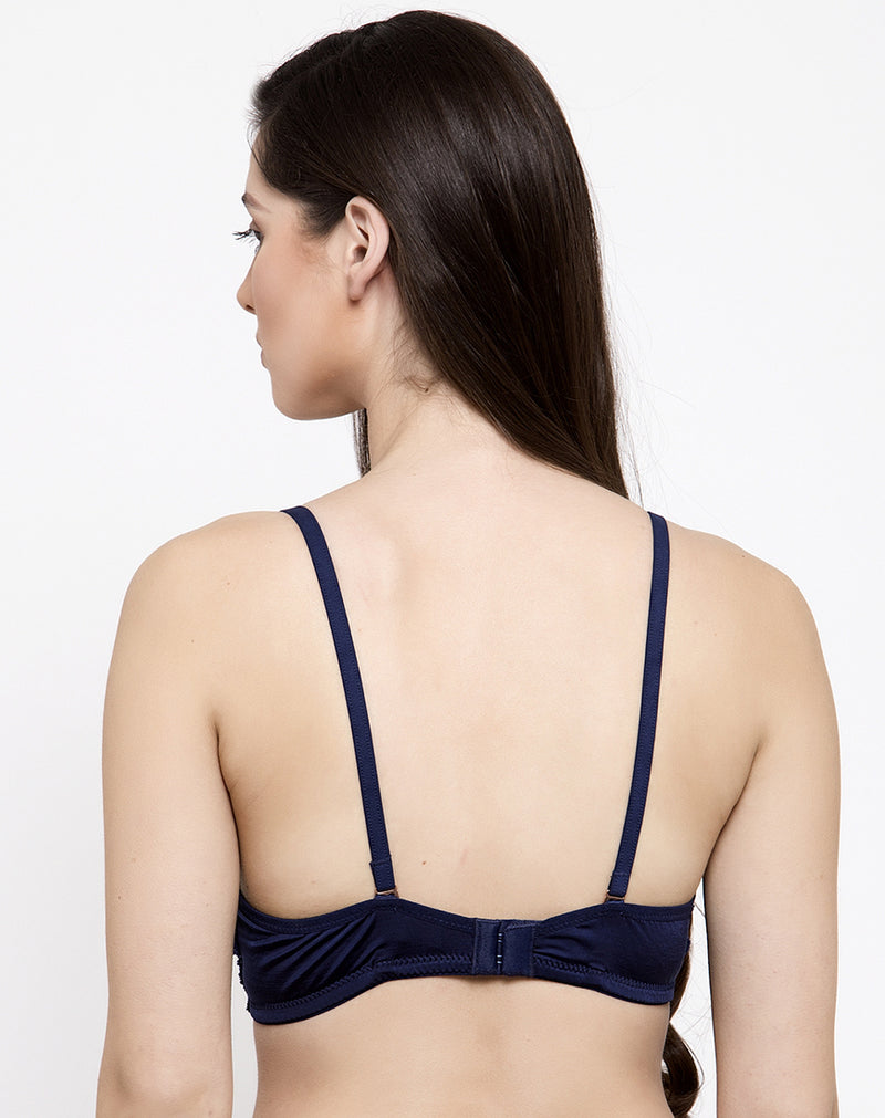 Crafted with Lace Non Wired Padded bra- Navy Blue