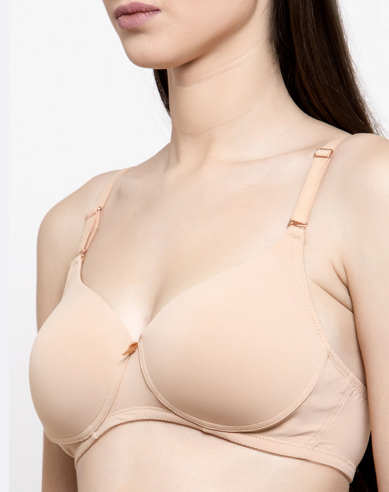 Premium Fancy Padded T-shirt Bra-Nude