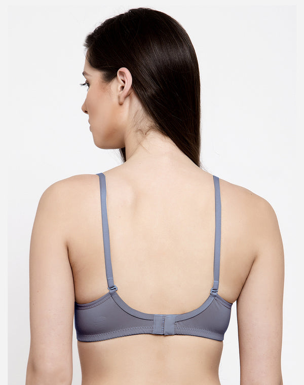 CRAFTED WITH LACE NON WIRED PADDED BRA - LIGHT GREY