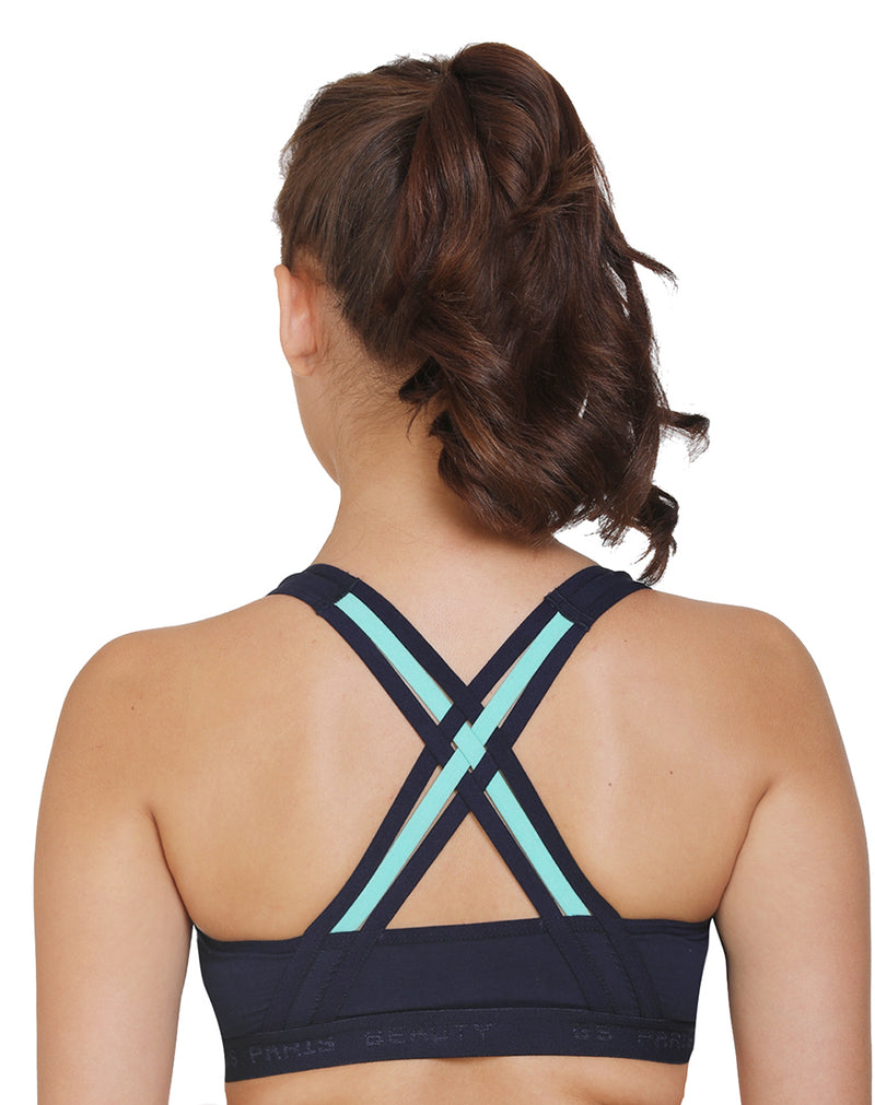 Racerback Extra Support Wire-Free Sports Bra-Aqua Green