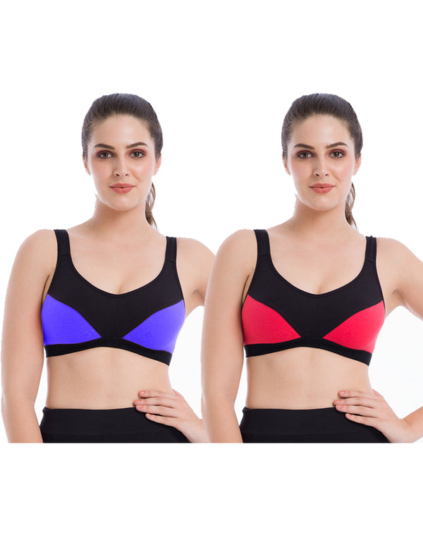 Non padded easy slip on style cotton sports bra - Pack of 2