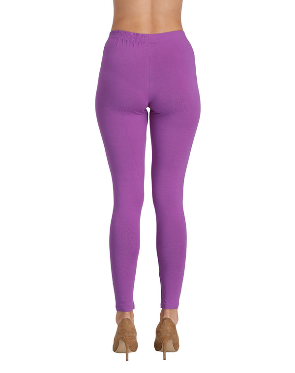 Ankle length stretchable bottom wear Purple