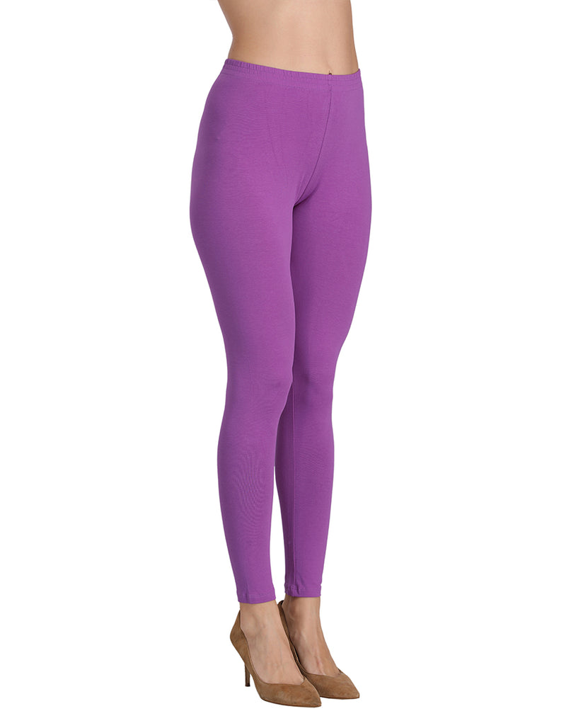 Stretchable ankle length leggings Lavender color