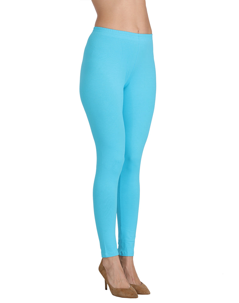 Ankle length stretchable leggings Ocean Blue