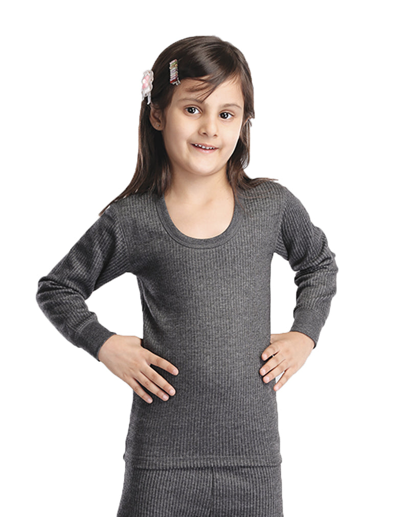 GIRL ROUND NECK THERMAL FULL SLEEVE TOP- CHARCOAL BLACK