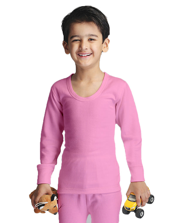 BOY ROUND NECK THERMAL FULL SLEEVE TOP- PINK