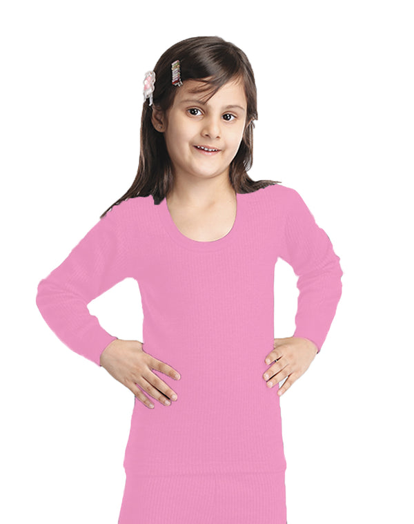 GIRL ROUND NECK THERMAL FULL SLEEVE TOP- PINK