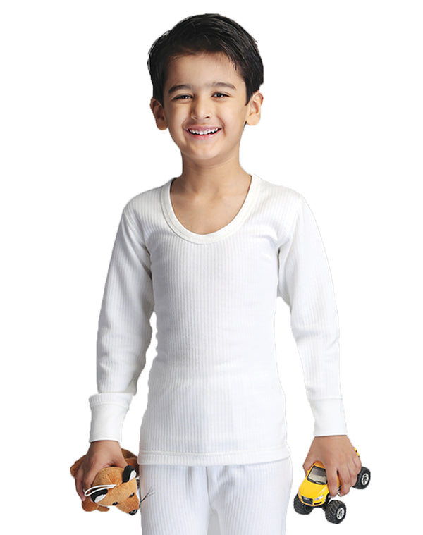 BOY ROUND NECK THERMAL FULL SLEEVE TOP- WHITE
