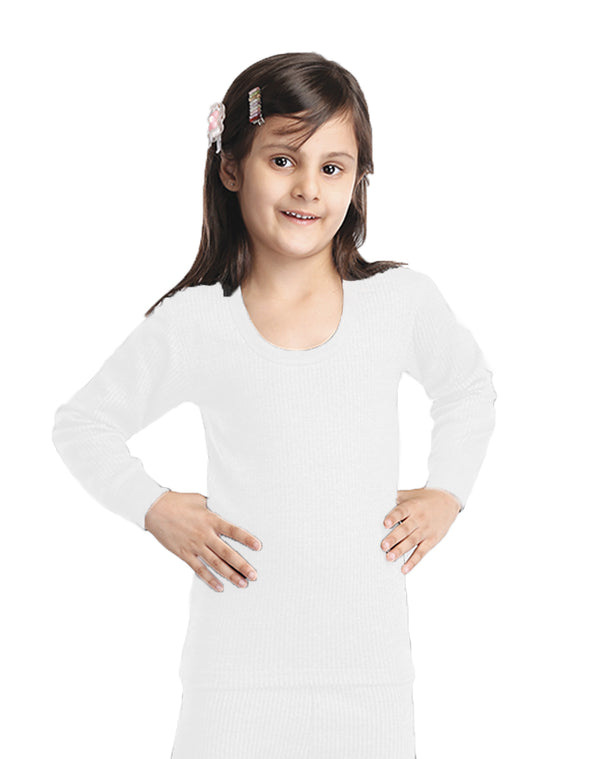 GIRL ROUND NECK THERMAL FULL SLEEVE TOP- WHITE