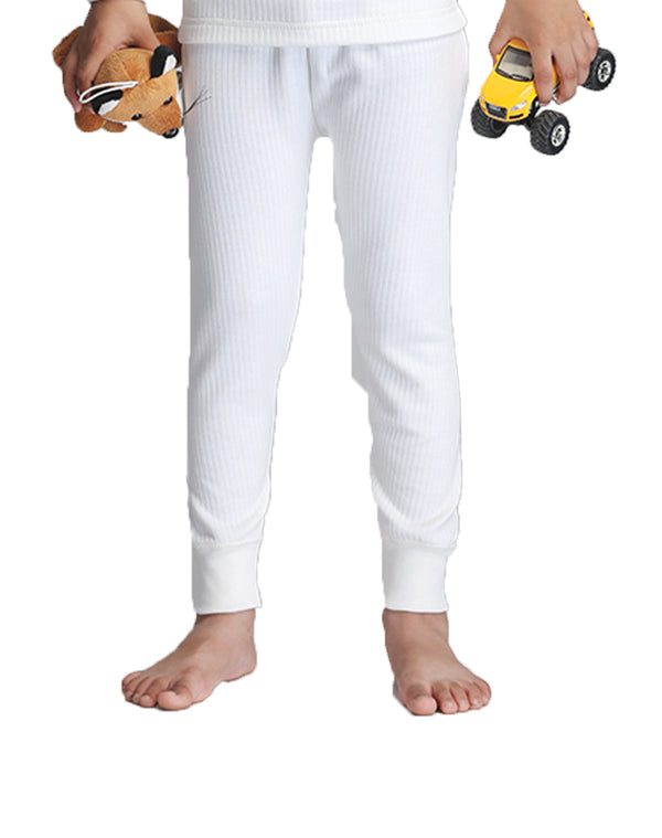 KIDS UNISEX THERMAL FULL LENGTH PAJAMA- WHITE