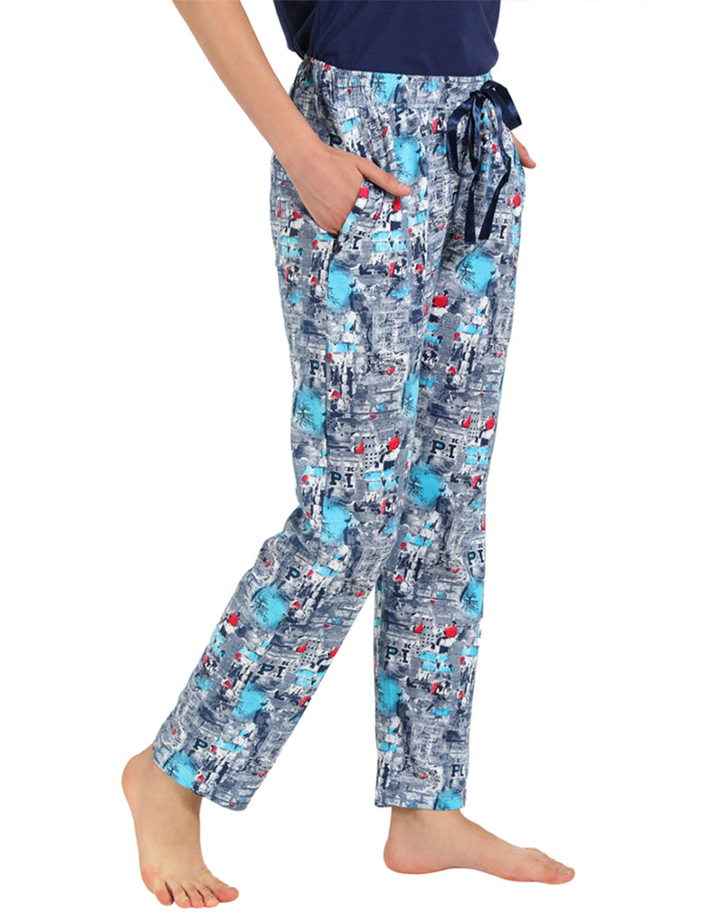 Super soft and comfortable printed pyjama and Solid T-shirt set in blue color