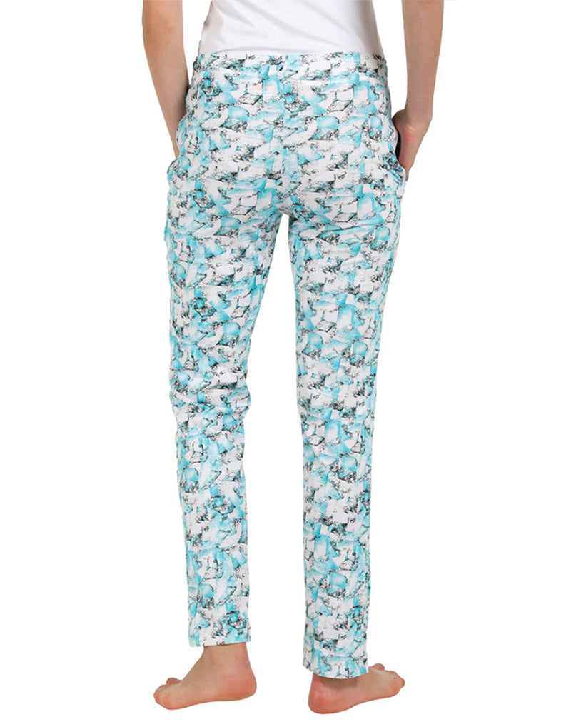 Super soft and comfortable printed pyjama in aqua green color and Plain T-shirt set