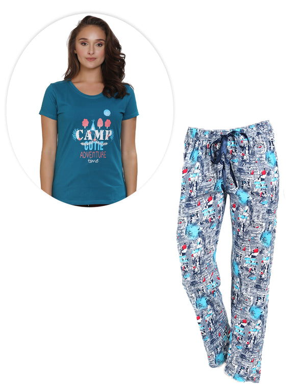 Super Cool Printed pyjama and Teal blue T-shirt set